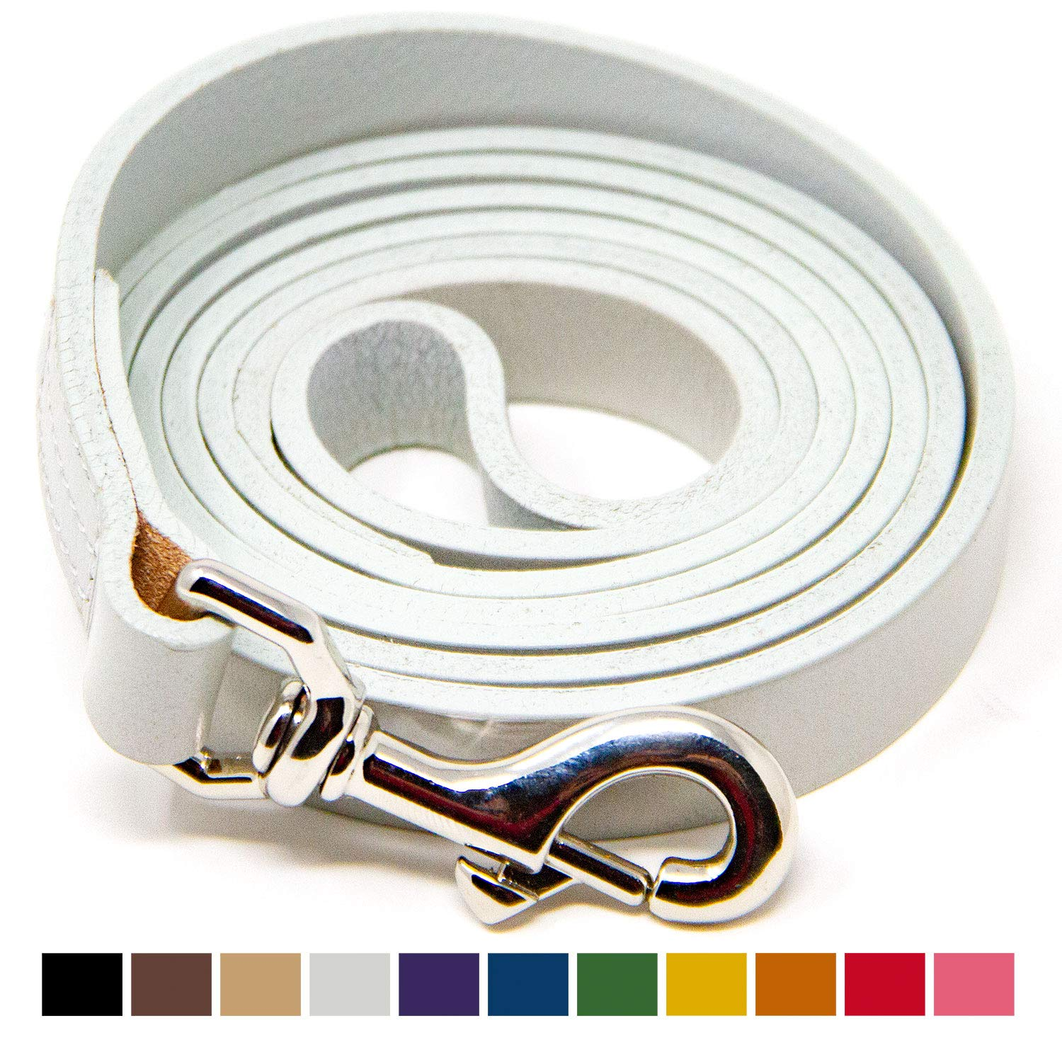 White 5 Foot White 5 Foot Logical Leather 5 Foot Dog Leash Best for Training Water Resistant Heavy Full Grain Leather Lead White
