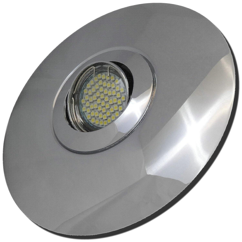 5 Stück SMD Modul Einbaustrahler Big Fabian 230 Volt 5 Watt Step Dimmbar Schwenkbar Chrom Warmweiß