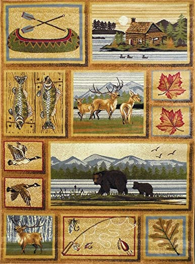 Area Rug Wildlife and Cabin Scene 7 Feet 7 Inch X 10 Feet 6 Inch