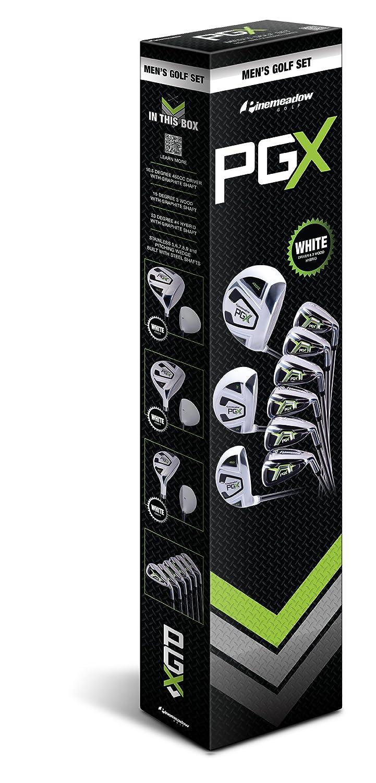 Pinemeadow Mens PGX Golf Set-Driver, 3 Wood, Hybrid, 5-PW Irons (Regular Flex)