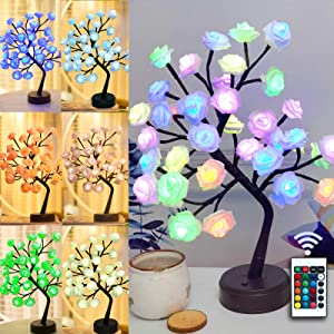Table Lamp Colorful Rose Flower Tree Light 16 Colors Changing Desk Tree Gift for Mom Girls Teens Mothers Day Tabletop Bonsai Tree Lights with Remote for Party Home Wedding Valentine's Day Decor(36LED)