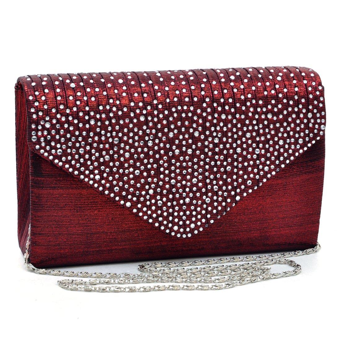 Womens Envelope Flap Clutch Handbag Evening Bag Purse Rhinestone Crystal Glitter Sequin Party Red