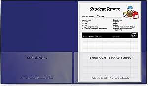 "C-Line, Classroom Connector School-to-Home Folders, Letter, 8 1/2"" x 11"" Sheet Size, 2 Internal Pockets, Polypropylene, Blue, 25/Box"