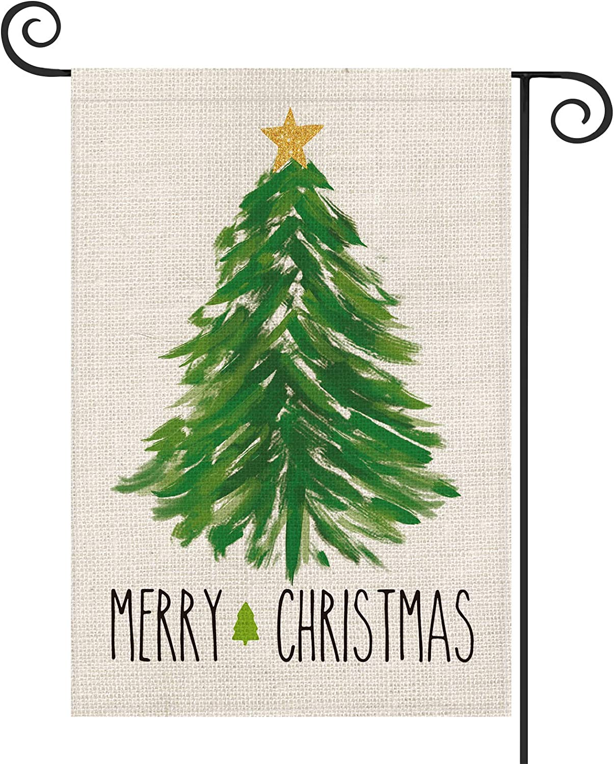 AVOIN Merry Christmas Watercolor Christmas Tree Garden Flag Vertical Double Sized, Winter Holiday Star Party Yard Outdoor Decoration 12.5 x 18 Inch