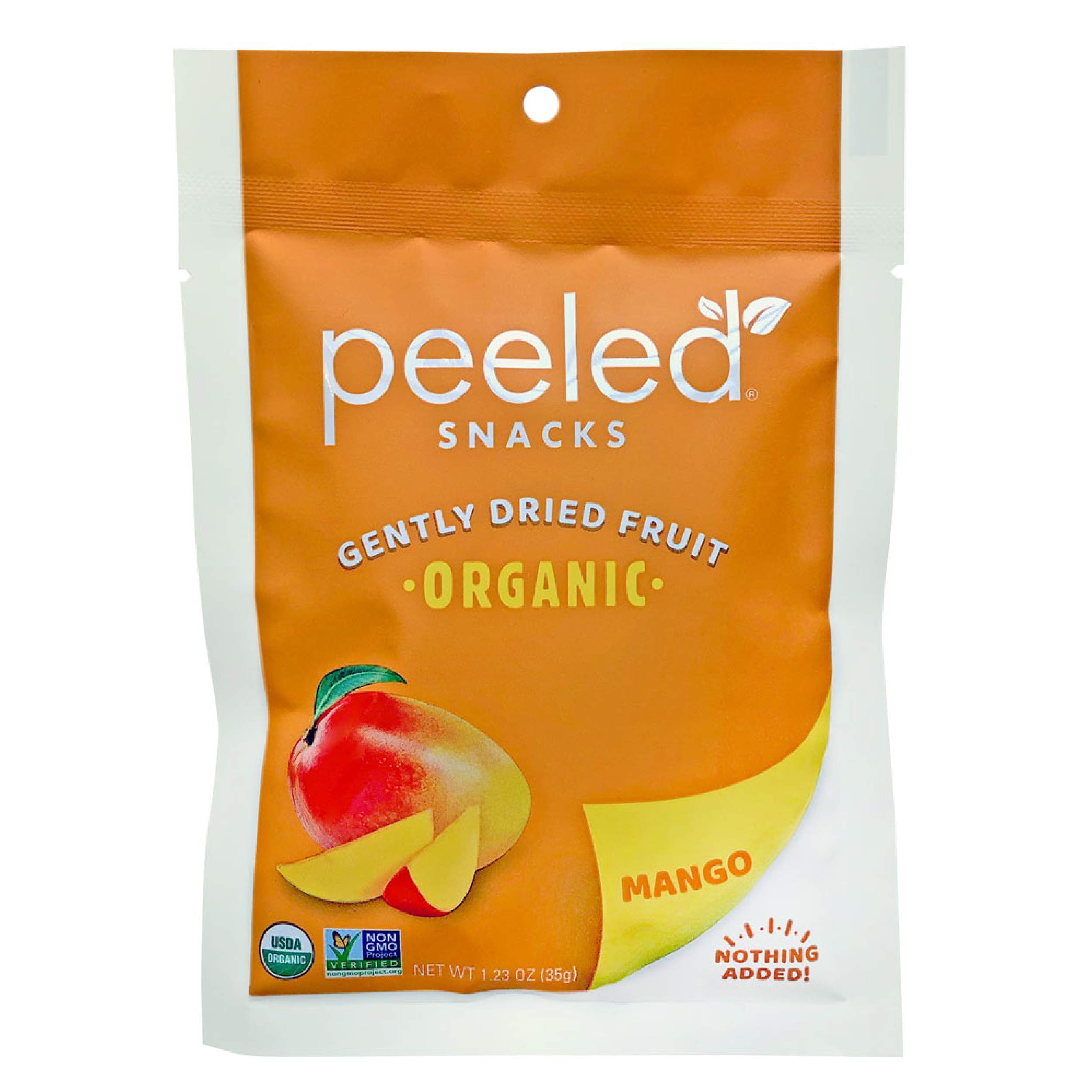 Peeled Snacks Organic Dried Fruit, Mango, 1.23 oz., Pack of 10 – Healthy, Vegan Snacks for On-the-Go, Lunch and More