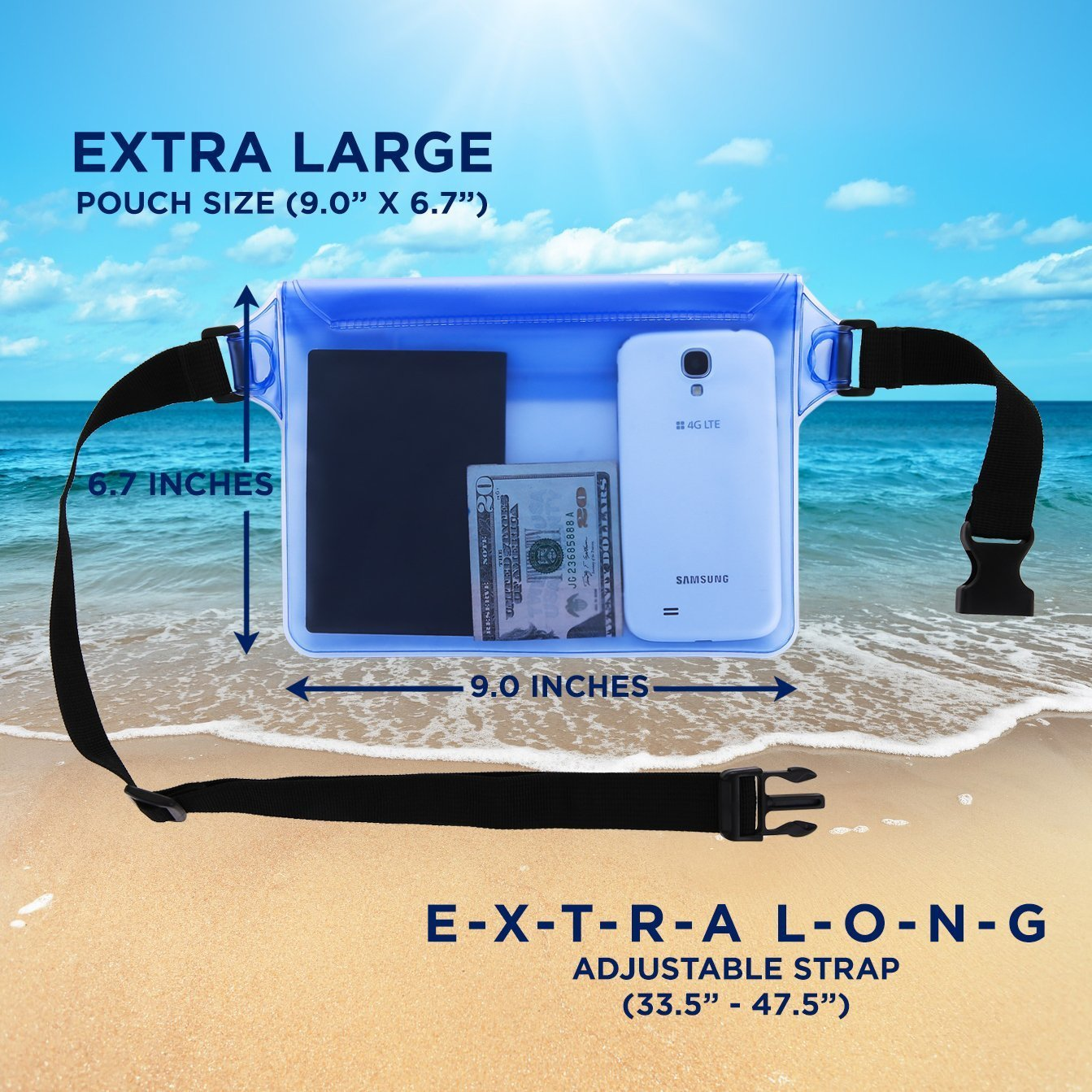 LENPOW Waterproof Pouch with Waist Strap, Water proof Dry Bag Snowproof Dirtproof Sandproof Case Best Way to Keep Your Phone, Valuables Safe Perfect for Boating Swimming Beach Pool Water Park, 2 Pack