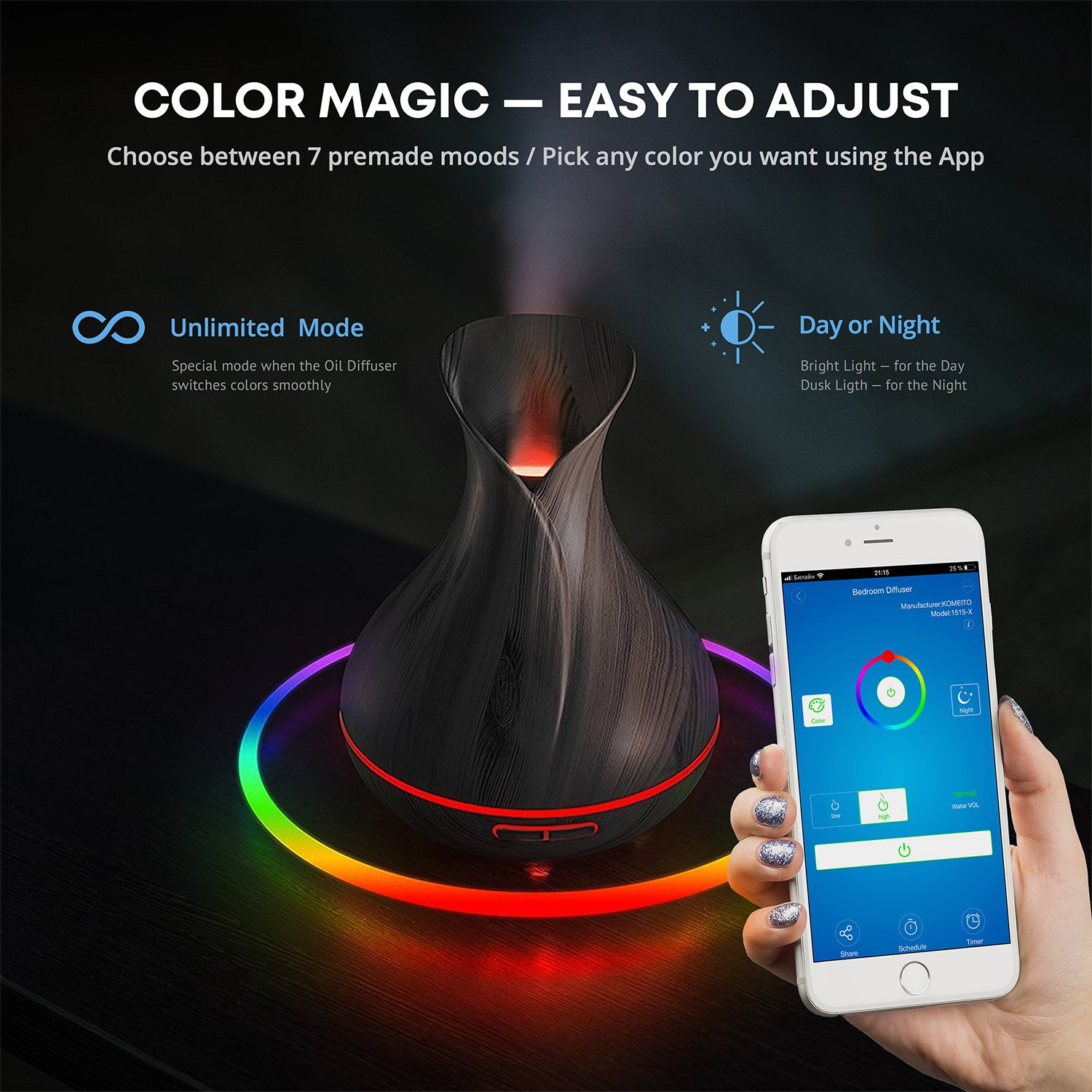 Smart Wifi Wireless Essential Oil Aromatherapy 400ml Ultrasonic Diffuser & Humidifier With Alexa & Google Home Phone App & Voice Control - Create Schedules - LED & Timer Settings by Sierra Modern Home (Image #3)