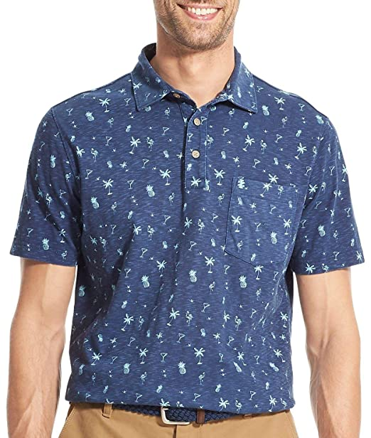 Izod Mens Dockside Printed Parrot Short Sleeve Polo Polos