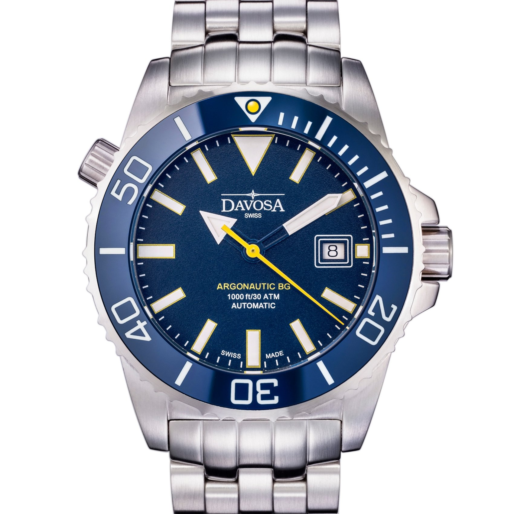 Davosa Automatic Swiss Made Men Watch, Professional Argonautic BG 16152240, Stainless Steel Wrist Band, Exceptional Luminous Analog Face
