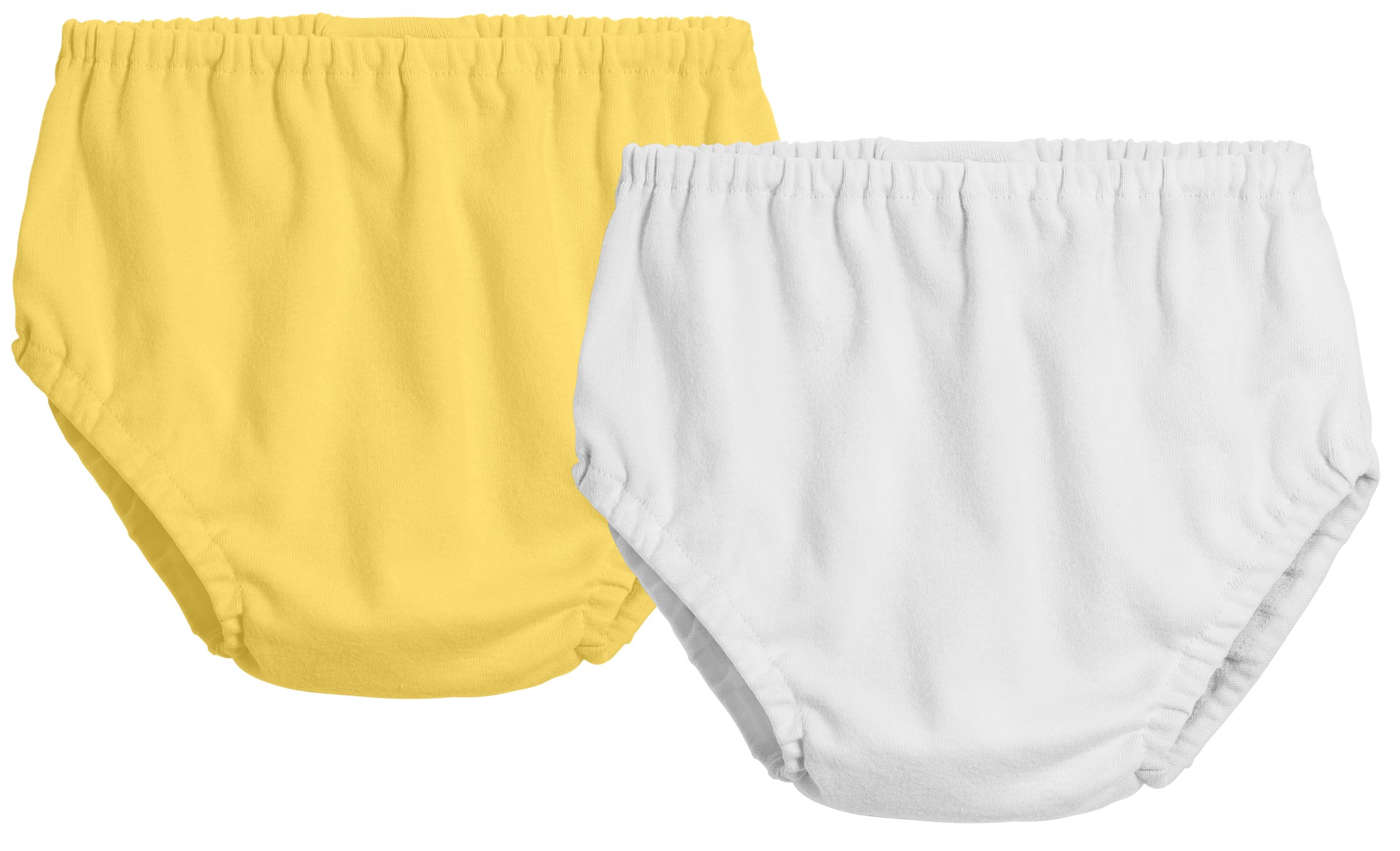City Threads 2-Pack Baby Girls' and Baby Boys' Unisex Diaper Covers Bloomers Soft Cotton, White/Yellow, 9/12 m