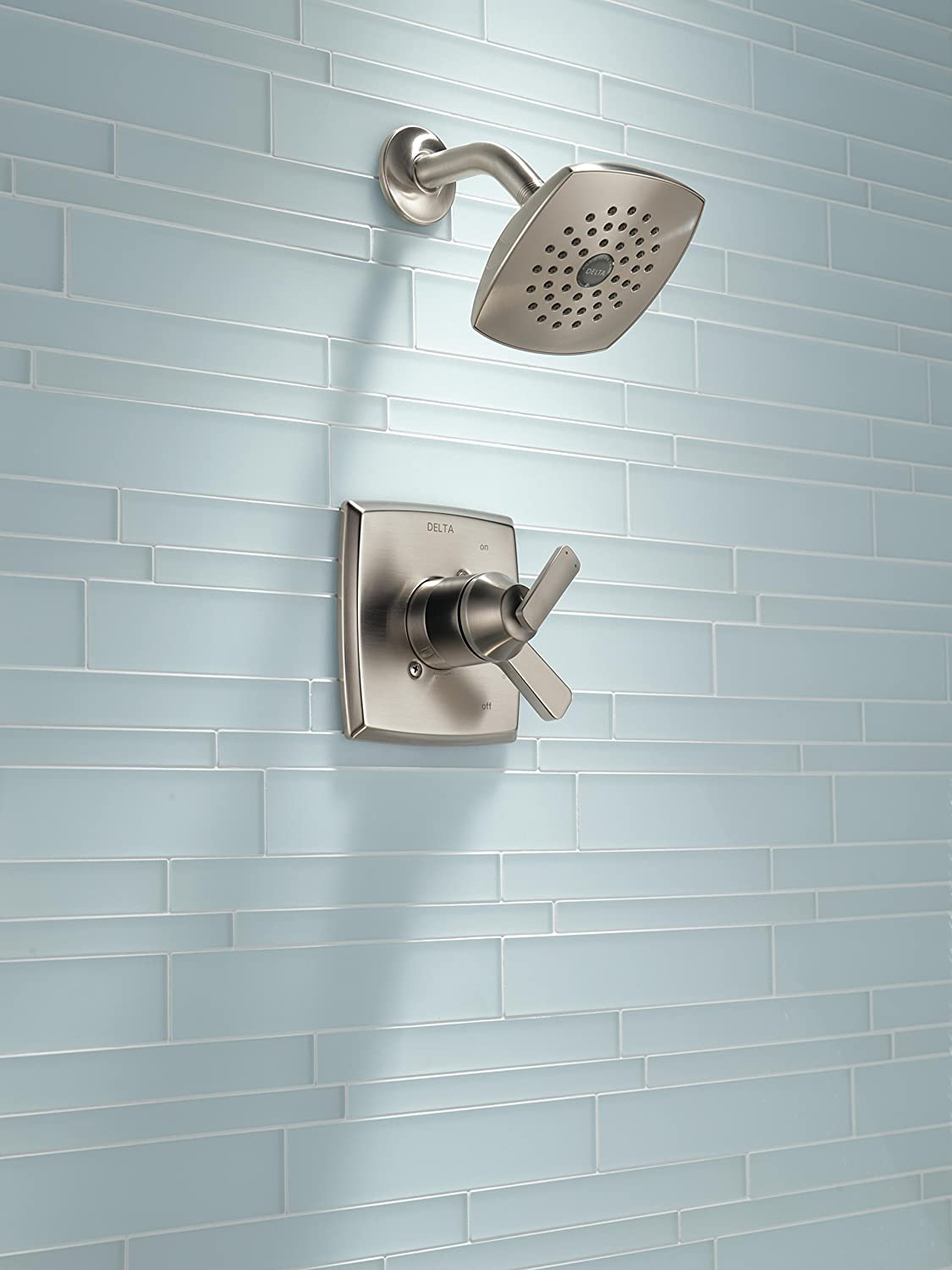 Delta Faucet Ashlyn 17 Series Dual-Function Shower Trim Kit with Single-Spray Touch-Clean Shower Head Valve Not Included Stainless T17264-SS