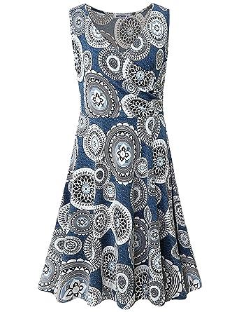 1065fdf38579 MOQIVGI Women s Cross V Neck Casual Dresses Sleeveless Floral Midi ...