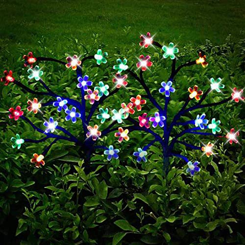 Garden Solar Lights Outdoor Decorative – LED Solar Powered Fairy Landscape Tree Lights Beautiful Solar Flower Lights for Pathway Patio Yard Deck Walkway Christmas Party Decor Yellow-Color 2Pack