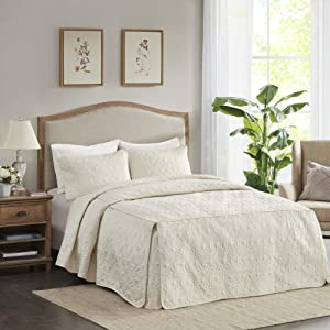Madison Park Fitted Bedspread Classic Traditional Design All Season, Lightweight, Bedding Set, Matching Shams, Queen(60
