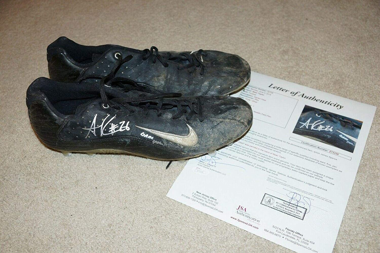 quality design bbdc5 d3797 SEAN TAYLOR Signed MIAMI HURRICANES Auto Game Used Worn NIKE ...