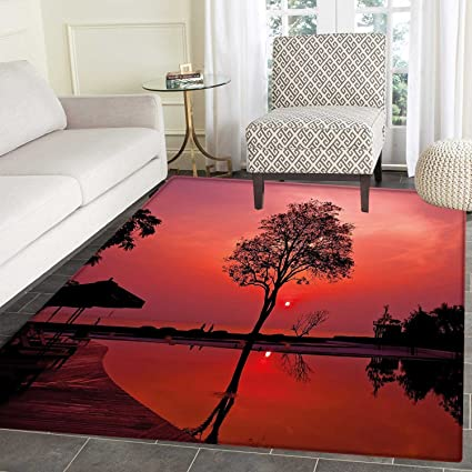 Ethnic Dining Room Home Bedroom Carpet Floor Mat Thai Mosaic Art Culture Stylized Abstract Lines Dots