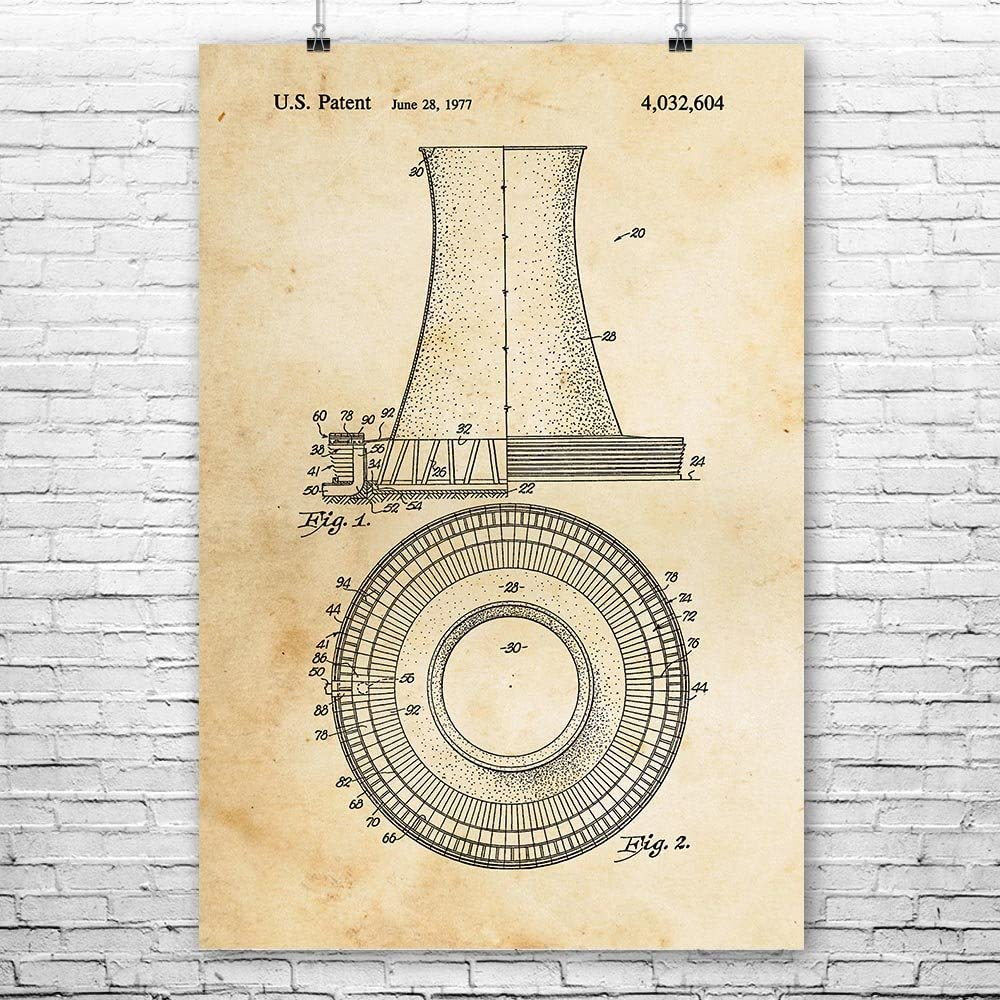 Nuclear Power Plant Cooling Tower Poster Print, Power Technician, Engineer Gift, Industrial Decor, Power Station Art (8 inch x 10 inch)