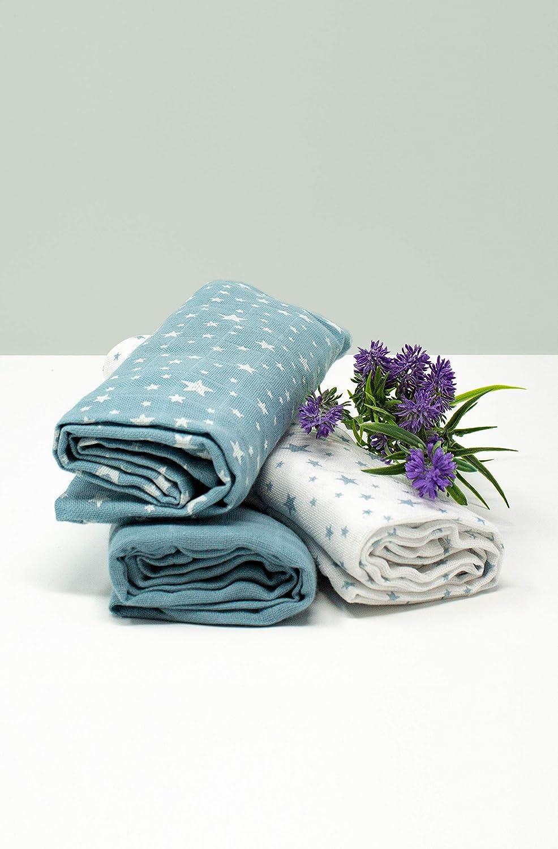 Set 3 Langes Etoiles Bleu P/étrole Coton Bio