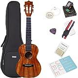 Koa Tenor Ukulele Bundle with Bag and Tuner, Strap, Extra Aquila Strings, Polishing Cloth, 2 Pins Installed, Instructional Book, KUT-70 HANKEY