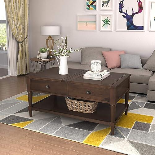 Binrrio Coffee Table Lift Top Wood Adjustable Modern Furniture Hidden Storage Compartment
