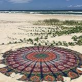 Raajsee Round Beach Throw Tapestry hippie/ Boho Mandala Beach Towel Blanket Blue Orange/ Indian Cotton Bohemian Round Table cloth Mandala Decor /Yoga Mat Meditation Picnic Rugs 75 inch Circle