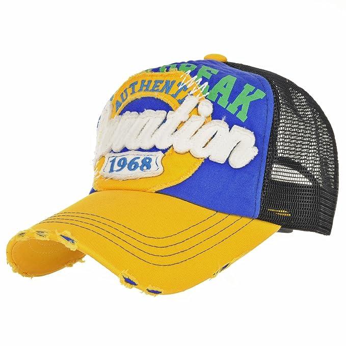 WITHMOONS Gorras de béisbol Gorra de Trucker Sombrero de Baseball Cap Mesh Distressed Trucker Cap Patch