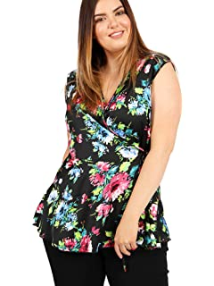 c1f7b938328 Lovedrobe GB Women s Black Floral Print Sleeveless Wrap Top Ladies Plus  Sizes 16-26