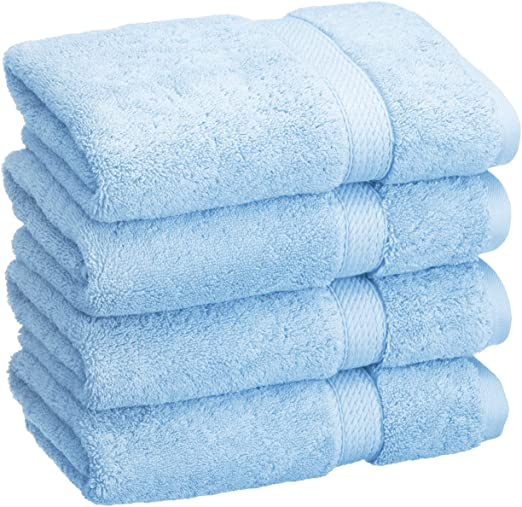 Cotton Craft Ultra Soft 6 Pack Hand Towels 16x28 Light Blue weighs 6 Ounces e...