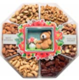 JUMBO Gift Baskets Fresh Variety of Gourmet Nuts - Miniature Handmade Teddy & Flowers - Holiday Gifts Idea for Men Women and Family - 2 Lb Tray (Mini Wishes)