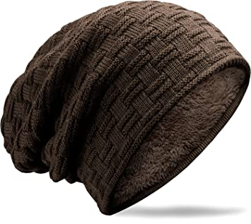 03be0226 MUCO Mens Womens Hat Beanie Cap Unisex Winter Warm Knitted Hats Fleece  Lining Slouch Skull Beanies Caps For Men Women: Amazon.co.uk: Sports &  Outdoors