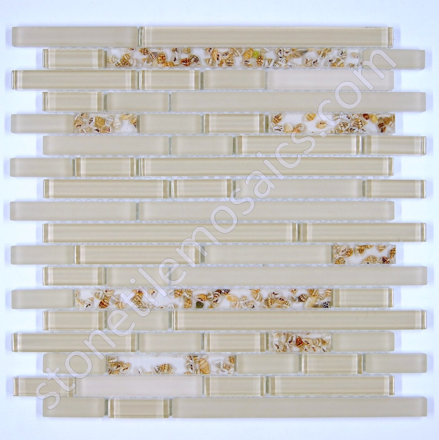 Vogue Premium Quality Seashells Glass Mixed Mosaic Random Pattern Tile for Backsplash and Bathroom Wall Designed in Italy (12x12) by Vogue Tile