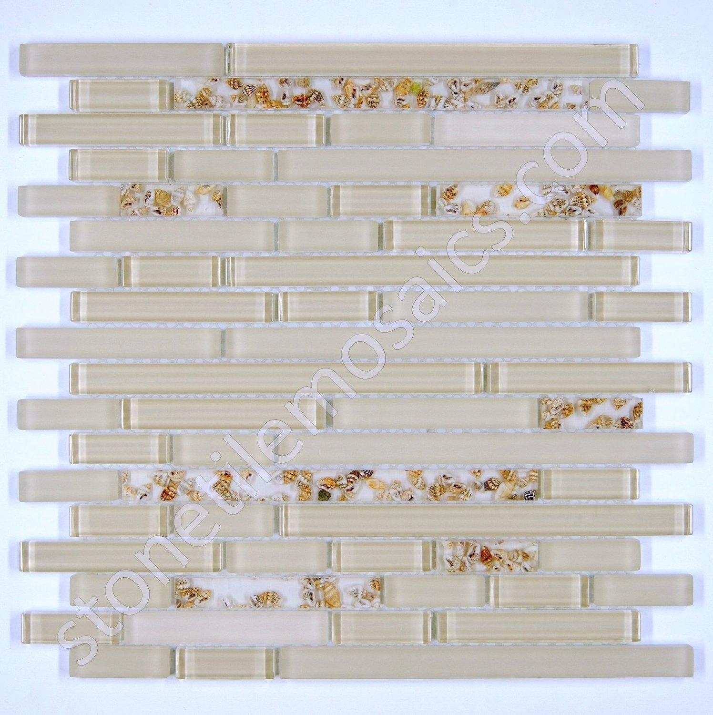 Vogue Premium Quality Seashells Glass Mixed Mosaic Random Pattern Tile for Backsplash and Bathroom Wall Designed in Italy (12x12)