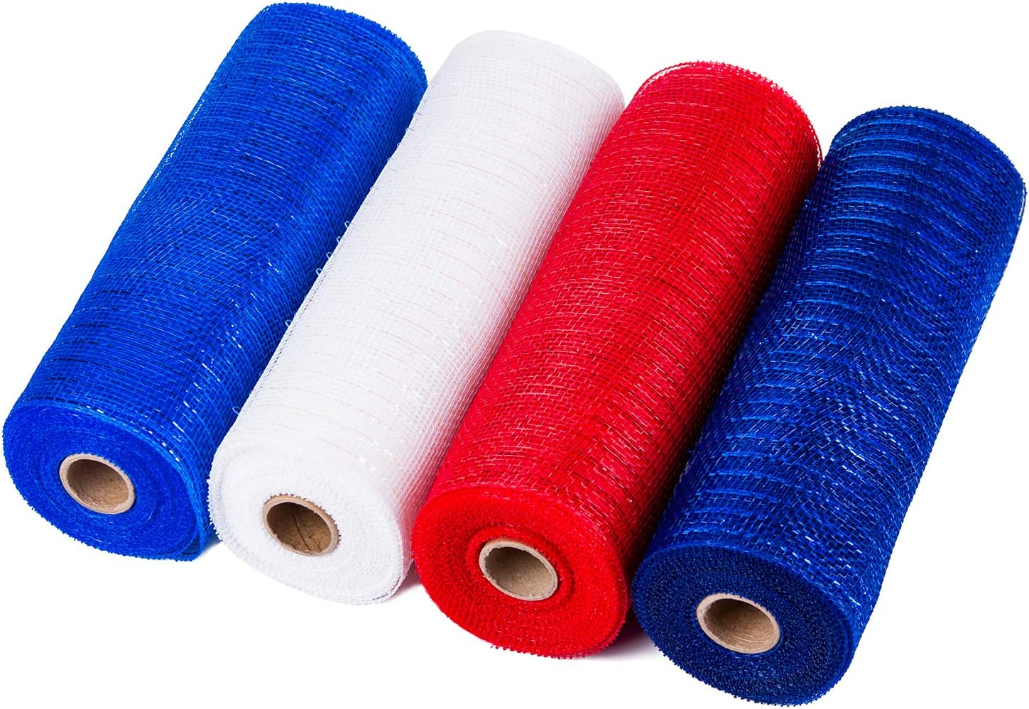 LaRibbons Deco Poly Mesh Ribbon - 10 inch x 30 feet Each Roll - Metallic Foil Red/Royal/White/Navy Set for Wreaths, Swags and Decorating - 4 Pack