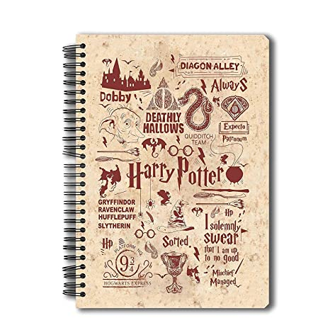 Mc Sid Razz Harry Potter Spiral Notebook of Infographic Red | Multi Subject B5 Size Notebook for Students |Gift Set- Christmas gift /Birthday / Return ...