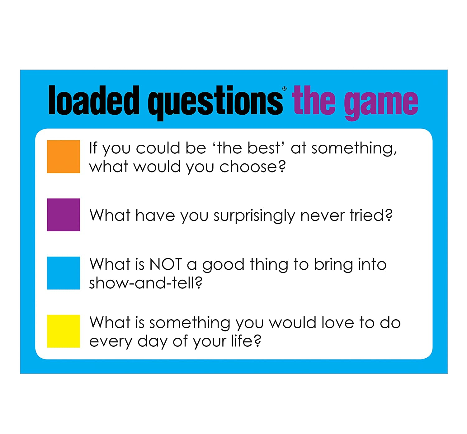 Amazon.com: All Things Equal, Inc. Loaded Questions - The Family/Friends  Version of the Classic Game of 'Who Said What': Toys & Games