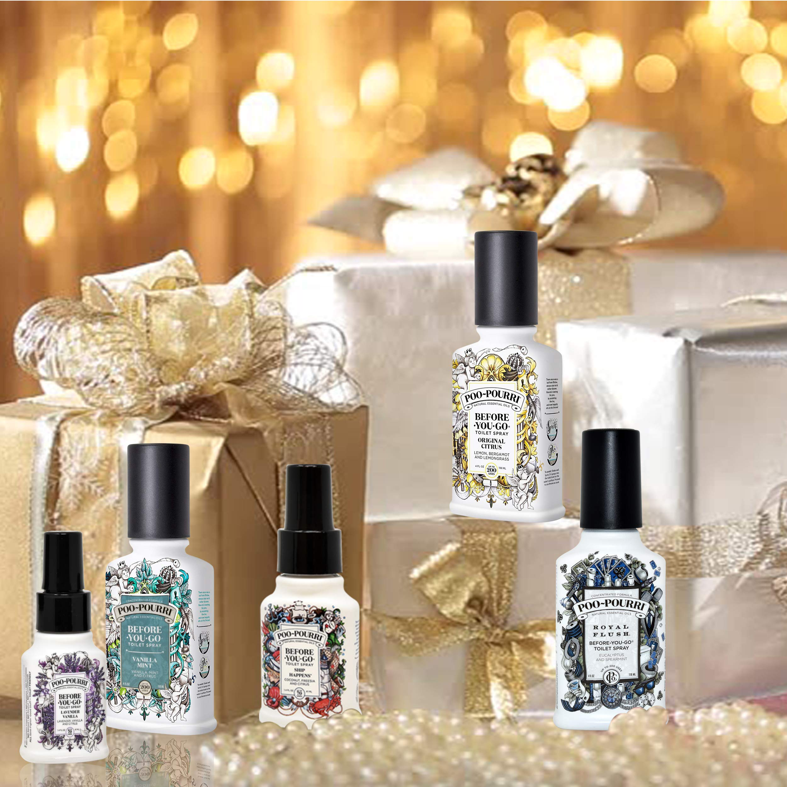 Poo-Pourri Set - Includes Original Citrus 4 Ounce, Royal Flush 4 Ounce, Vanilla Mint 4 Ounce, Ship Happens 1.4 Ounce, and Lavender Vanilla 1.4 Ounce by Poo-Pourri (Image #4)