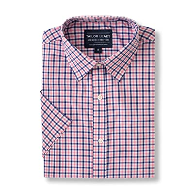 Tailor Leads Men's Short Sleeve Dress Shirt Slim Fit Wrinkle Free Pink and Blue Check at Men's Clothing store