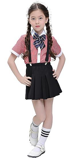 1698ad36ff8 Yuanlu 4 Piece Girls Toddler Dress Suits Suspender Set Red Dress Shirt Black  Skirt and Bow