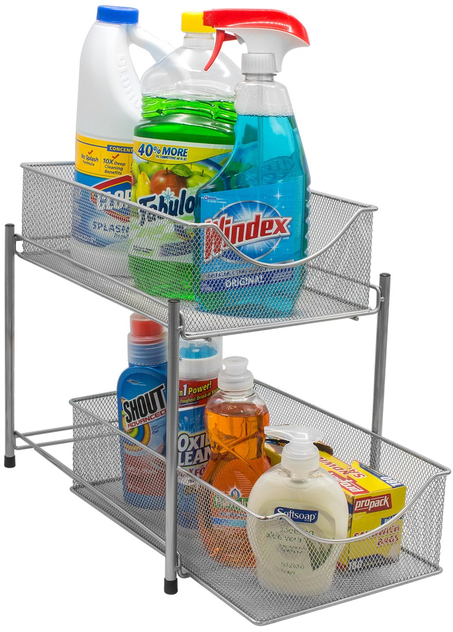 2 Tier Organizer Baskets with Mesh Sliding Drawers, Ideal Cabinet, Countertop, Pantry, Under the Sink, and Desktop Organizer for Bathroom,Kitchen, Office, etc.Made of Steel (Silver)