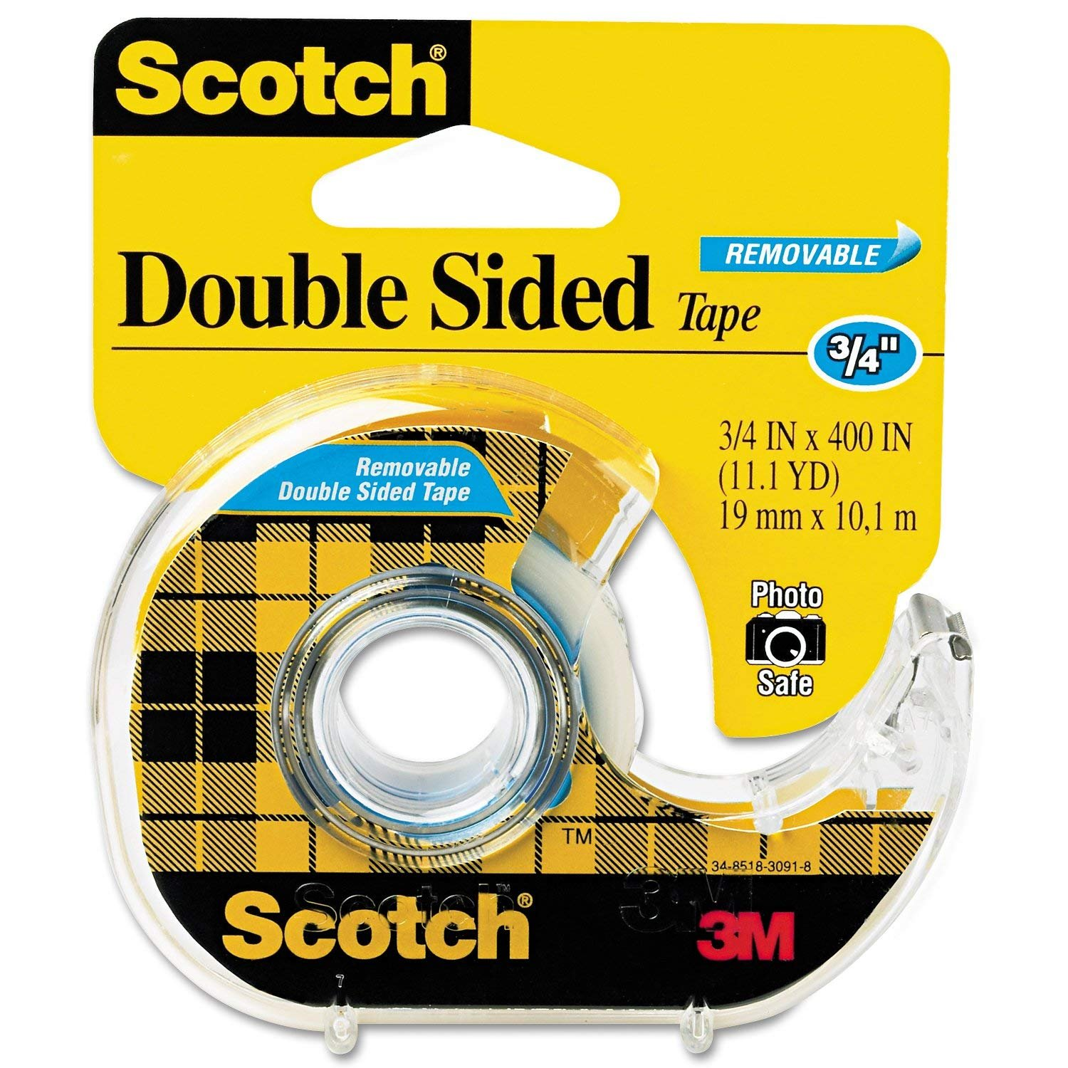 Scotch Removable DoubleSided Tape 3/4 inch x 400 inches Dispenser JH3W, 4-Pack