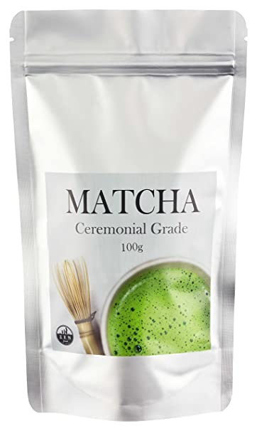 TÉ MATCHA - Ceremonial Grade ✮ 100 gr ✮ Polvo Matcha - en calidad premium - Ideal como bebida caliente o complemento en platos - La puntilla energética ...