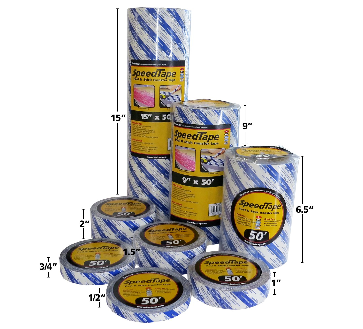 FastCap STAPE.1X50 SpeedTape 1 x 50 Peel and Stick Speed Tapes, 6-Pack