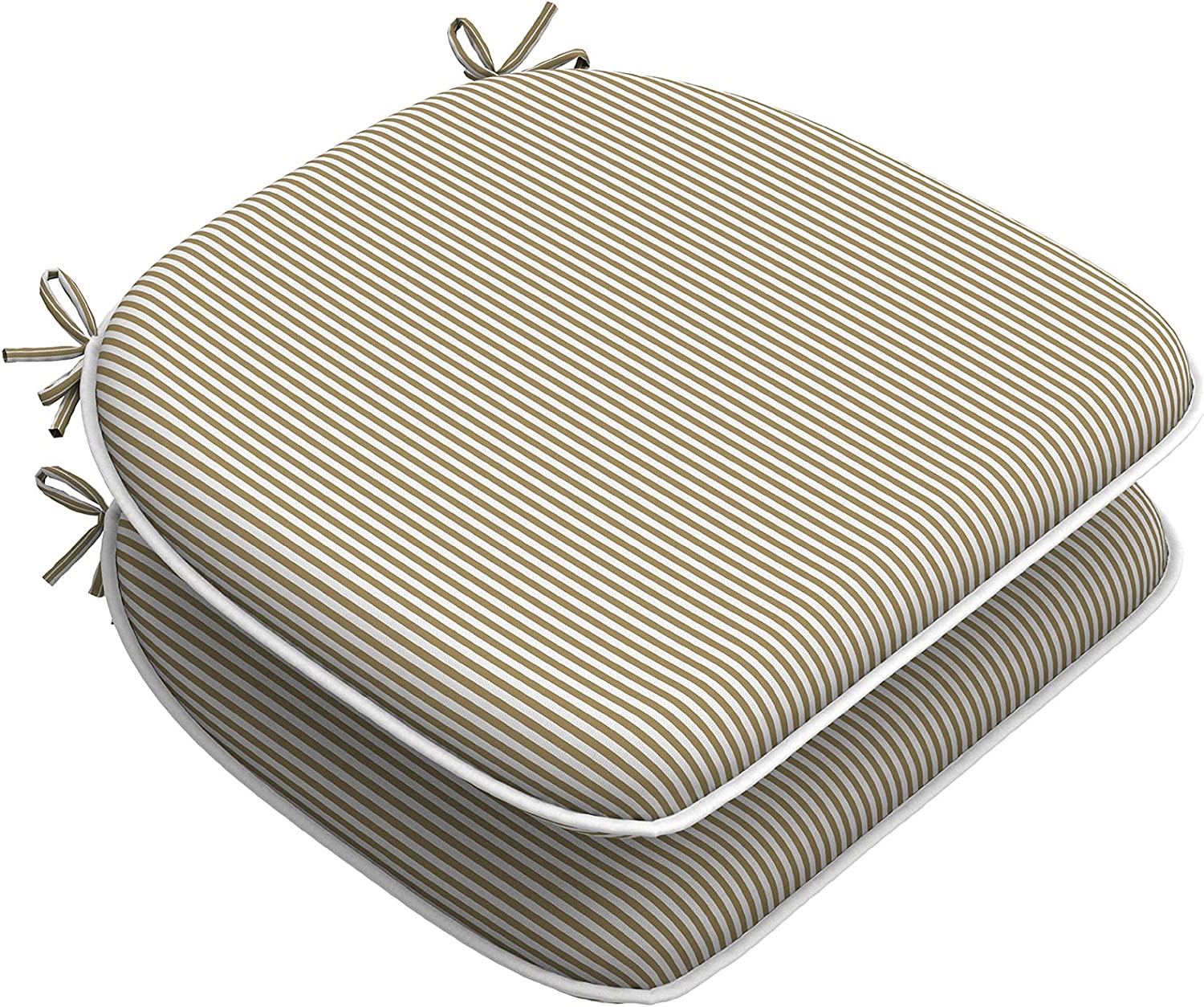 """LVTXIII Outdoor/Indoor Seat Cushions Patio Chair Pads with Ties, Water-Repellent Chair Cushions for Home Office and Patio Garden Furniture Decoration 16""""x17"""", Stripe Beige, Set of 2"""