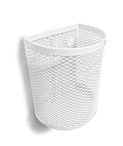 Magnetic Pen/Pencil Mesh Metal Basket/Holder/Container/Storage/Organizer for Kitchen/Refrigerator/Fridge/Whiteboard/Dry Erase/File Cabinet/Locker (White)(Set of 2)