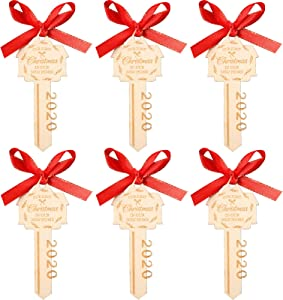 Jetec 6 Pieces Our First Christmas in Our New Home 2020 Wooden Key with Red Ribbon Key Shape Wooden Ornaments for Xmas Housewarming and Holiday Decoration