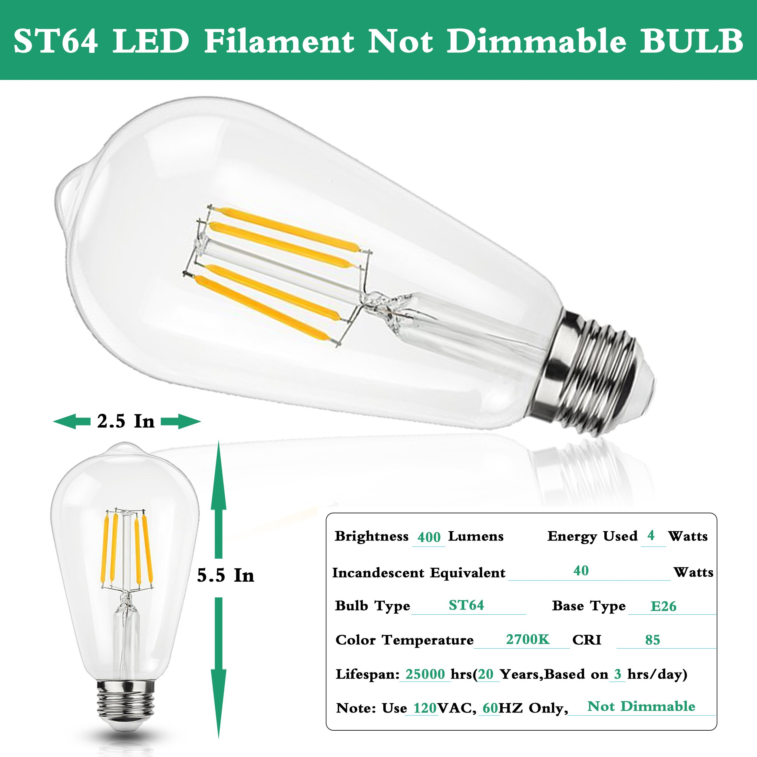 Vintage LED Edison Bulbs, ST64 LED Filament Light Bulb,2700k Soft White,4W ST21 LED Bulbs,400LM, 40W Halogen Equivalent, Non Dimmable E26 Base Clear Glass Bulbs for Hone Bathroom,Bedroom-12 Pack