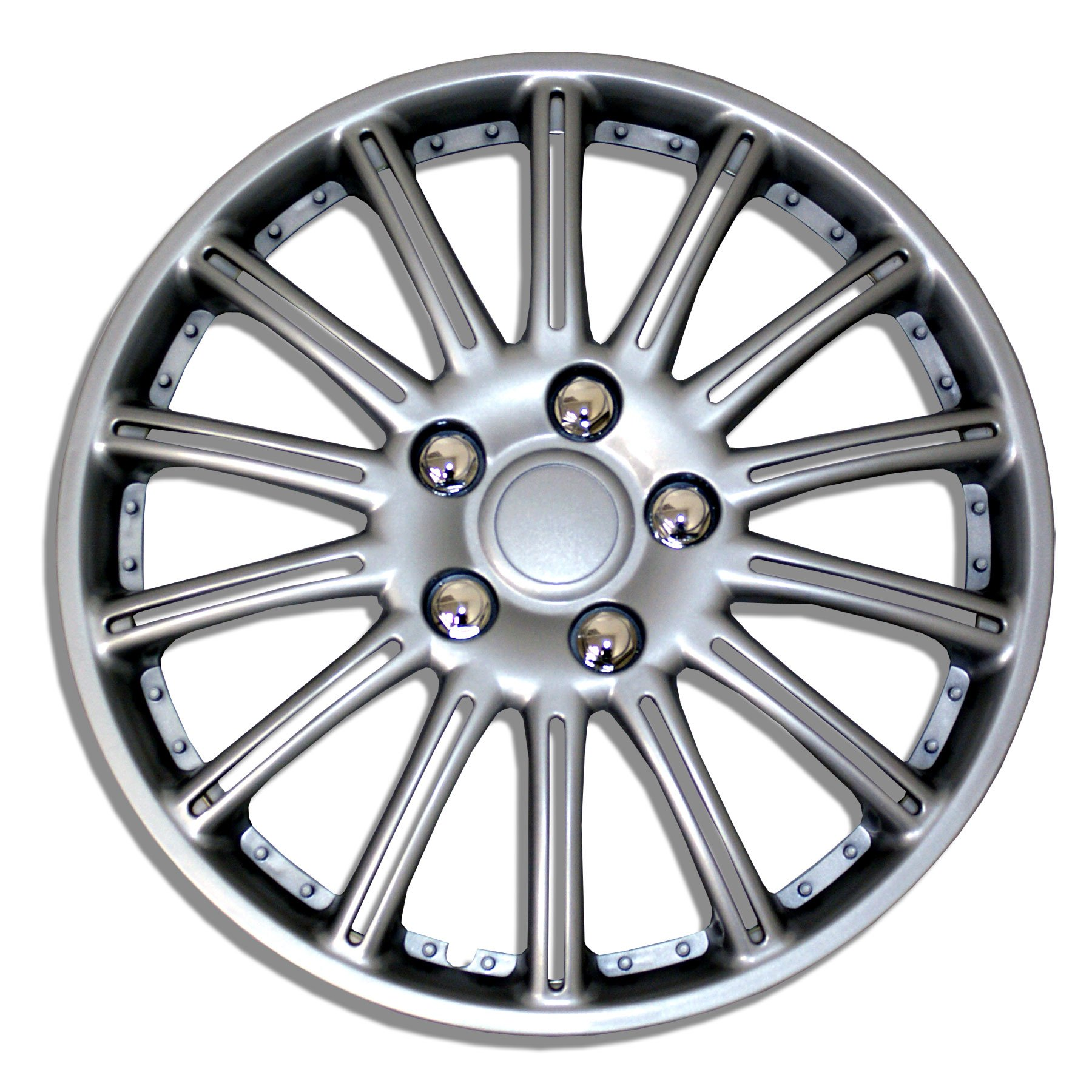 TuningPros WSC-032S15 Hubcaps Wheel Skin Cover 15-Inches Silver Set of 4