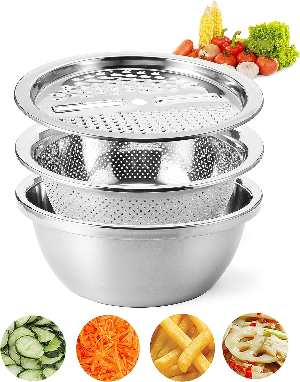 Cedilis 10 Inch Stainless Steel Drain Basket Vegetable Cutter, Multifunction Julienne Grater, 3 in 1 Colander and Bowl Set Including Slicer Peeler, Great Salad Maker Bowl