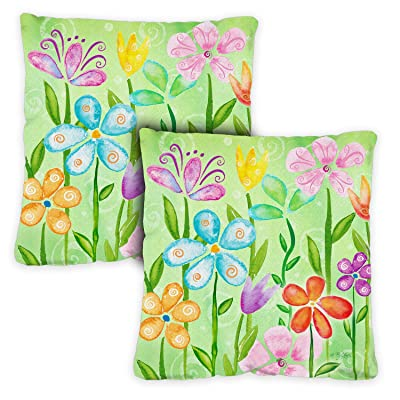 Toland Home Garden 721201 Spring Blooms 18 x 18 Inch Indoor/Outdoor, Pillow with Insert (2-Pack) : Garden & Outdoor