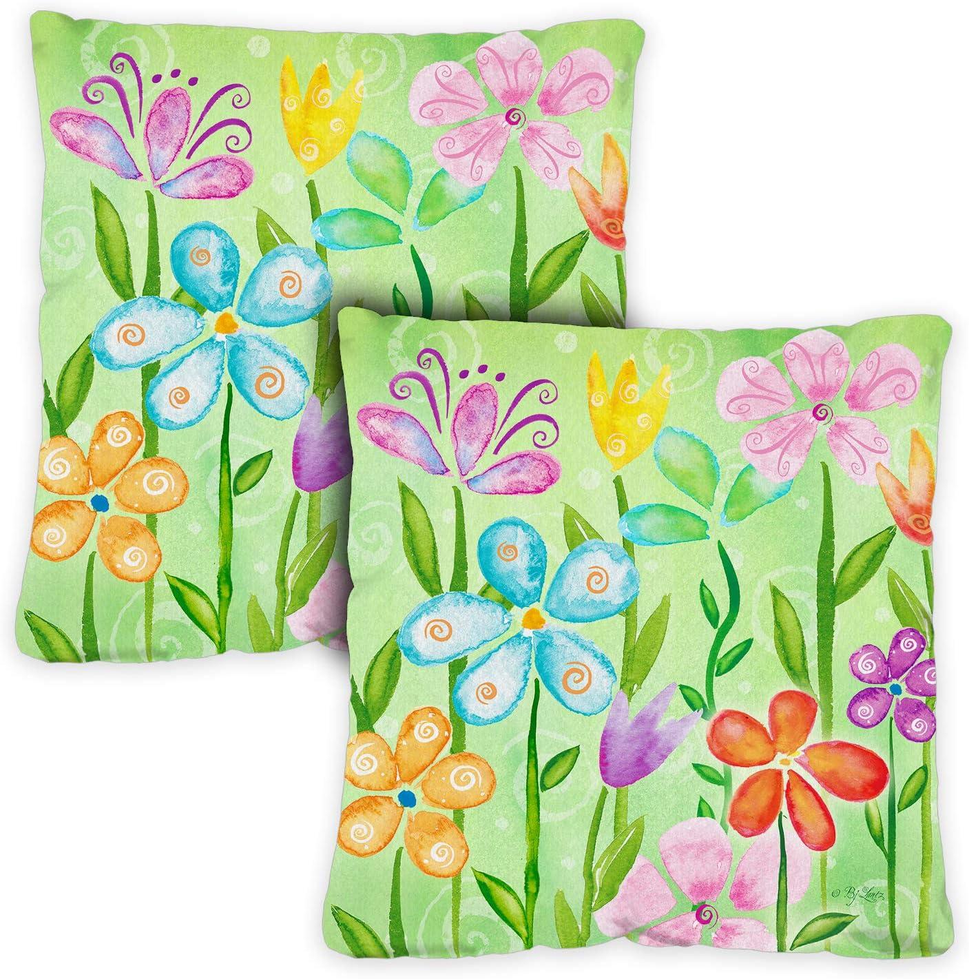 Toland Home Garden 761201 Spring Blooms 18 x 18 Inch Indoor/Outdoor, Pillow Case (2-Pack)